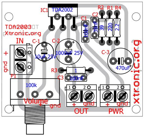 Pcb Stereo Pre Potensio circuit of power audio lifier with ic tda2003 for 10 watt