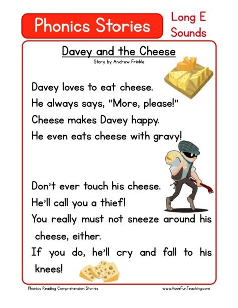 reading comprehension worksheet davey   cheese