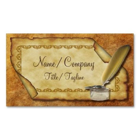 quill business cards template quill pen and parchment business card quill business