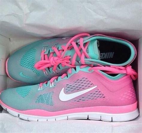 shoes aqua and pink nike run aqua and black