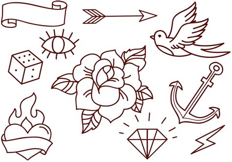 simple tattoo flash free school tattoos vectors free vector