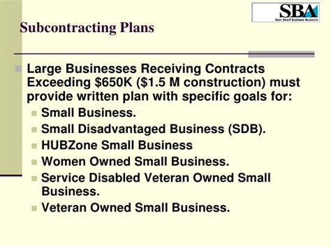 small business subcontracting plan template