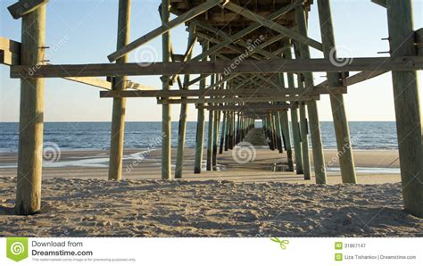pattern energy pier 1 bay 3 under a fishing pier stock image image of crossbar blue