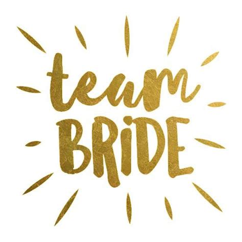 set of 8 team bride metallic gold foil by thetattooboutique