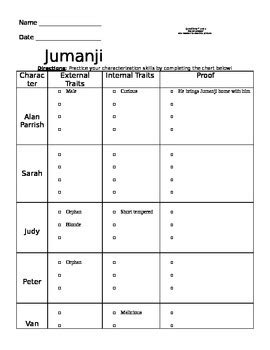 jumanji movie worksheet jumanji movie worksheet by miss loucks teachers pay teachers