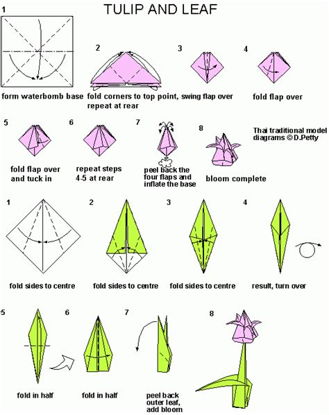 How To Make A Paper With Stem - tulip origami connecting it