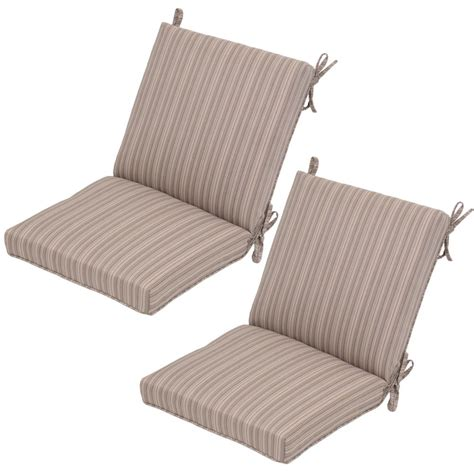 Striped Dining Chair Cushions Saddle Stripe Mid Back Outdoor Dining Chair Cushion 2 Pack 7250 02241700 The Home Depot