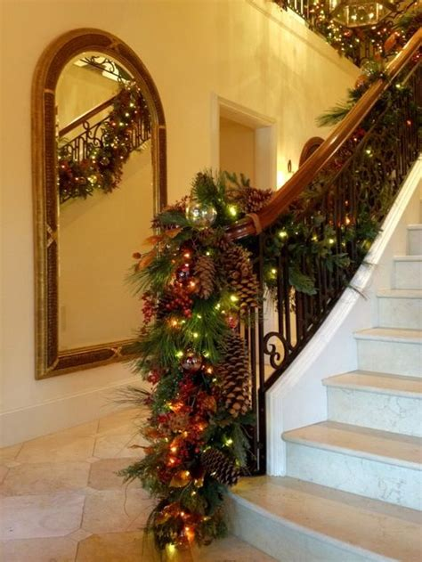 christmas lights for stair banisters best banister garland home design design ideas remodel