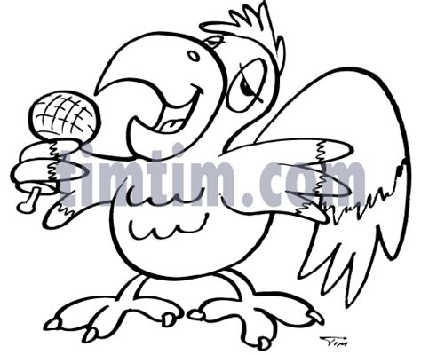 coloring book instrumental free drawing of karaoke parrot bw from the category