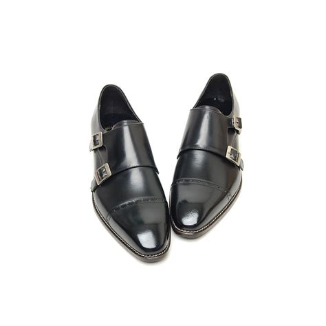 mens black two buckle monk tip dress shoes