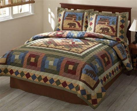 moose comforter set bear moose lodge cabin outdoor quilt set full queen or