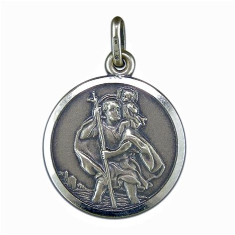 st pendant pendant silver antique finish st christopher