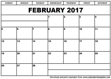printable calendar february 2017 february 2017 calendar template