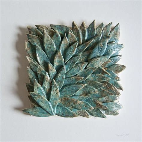 Ceramic Tiles Handmade - handmade ceramic tile 62 teal leaves framed sculptural