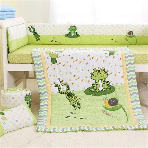 Frog Crib Bedding Frog In The Pond 6 Cotton Baby Crib Bedding Set Beddinginn