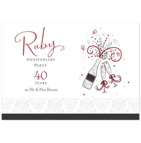 40th ruby anniversary invitation postcard hallmark uk