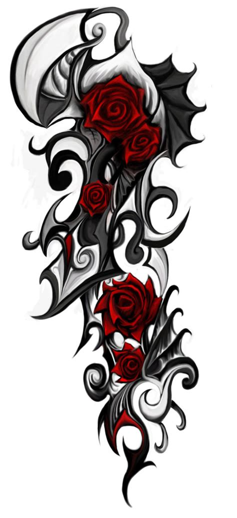 roses with tribal tattoos tribal by patrike on deviantart