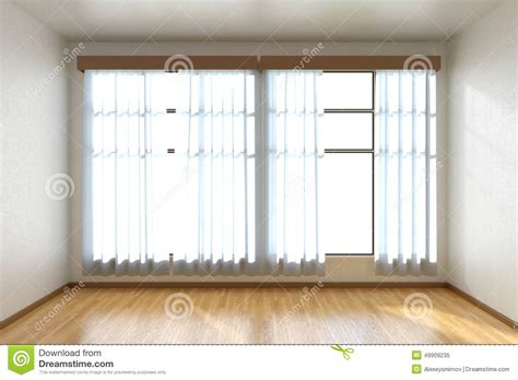 empty room with parquet floor and window front view stock