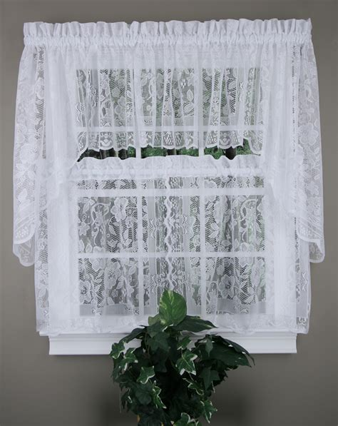 kitchen curtain swags windsor lace curtains natural united jabot swag