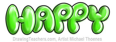 graffiti bubble letters happy