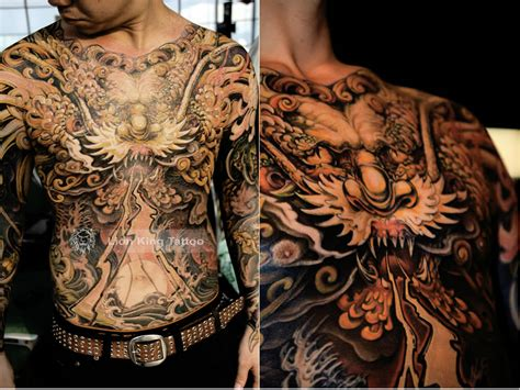 torso tattoo black and grey asian tiger on back by