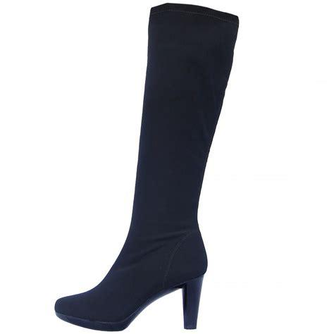 stretch boots nr rapisardi knee high high heel stretch boots in black