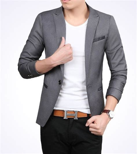 Jas Blazer Keren Jual Style Grey Blazer Jas Pria Cowok Slimfit Korea