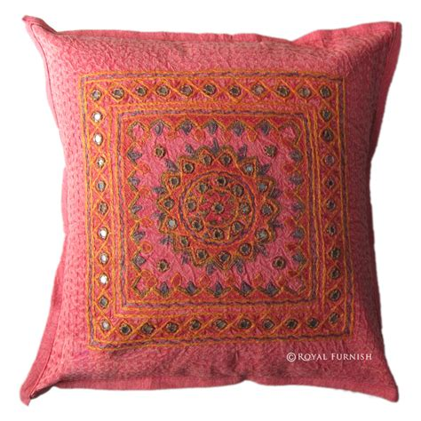 Handmade Cushion Cover - india handmade mirror embroidered cushion cover