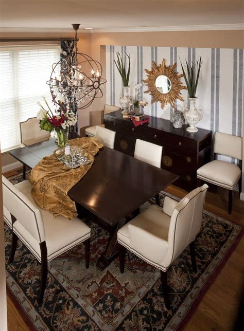 dining room by reusch interior design settee chairs
