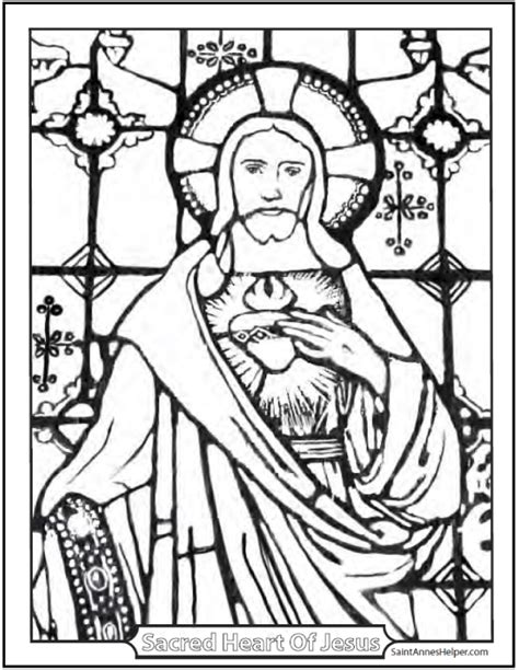 sacred heart coloring page stained glass coloring page of jesus church window