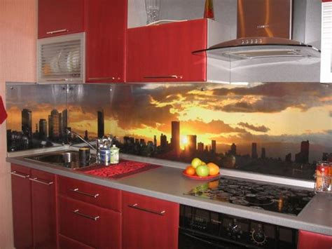 Contemporary Kitchen Backsplash Designs Colorful Glass Backsplash Ideas Adding Digital Prints To Modern Kitchen Design