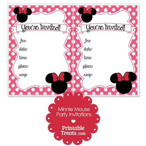 minnie mouse template invitations printable pink minnie mouse invitations printable treats
