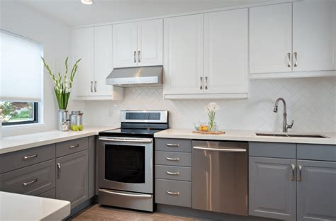 gray and white kitchen cabinets small kitchen no windows