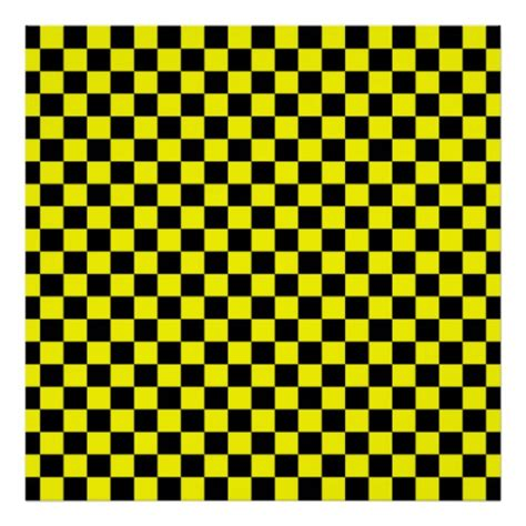 checkered pattern types black and yellow checkerboard pattern poster zazzle