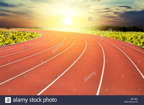 running background running track and sunset background concept background