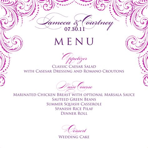 free printable wedding menu template 8 wedding menu template procedure template sle