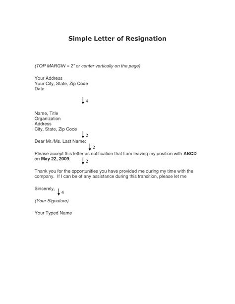 best photos of simple resignation letter simple resignation letter sle simple