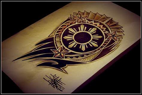 filipino sun tribal half sleeve tattoo design flickr
