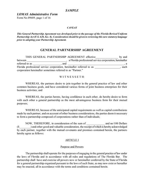 articles of partnership template partnership agreement template
