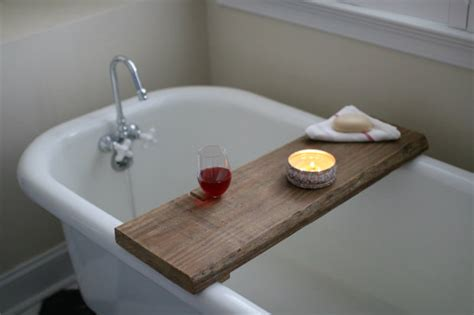 over the bathtub caddy make this rustic bath caddy from a single board of