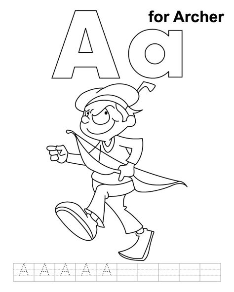 Letter Archer free coloring pages of aa ant