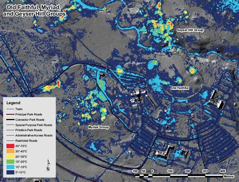 yellowstone geysers map yellowstone geyser faithful a thermal imaging map
