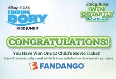 Juicy Juice Instant Win - the juicy juice instant win game free fandango movie tickets and more
