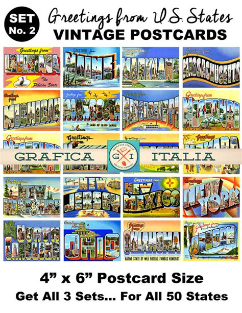 printable state postcards vintage travel postcard clipart set no 2 retro u s state