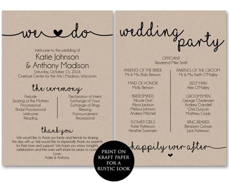 wedding bulletin templates ceremony program template printable wedding programs