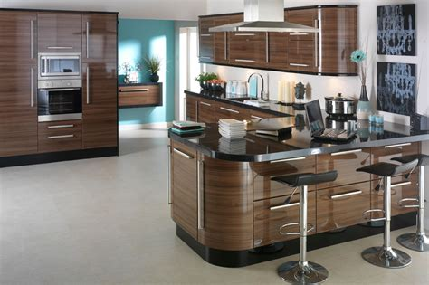 designer kitchens uk apollo dark walnut high gloss kitchen design idea ipc402