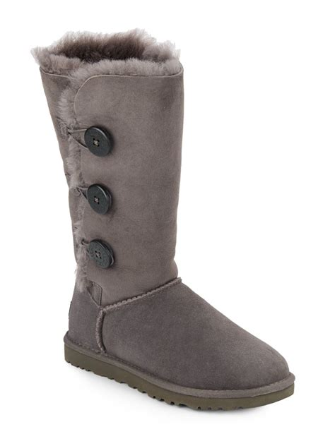 grey ugg boots for ugg bailey button shearling lined suede boots in gray lyst