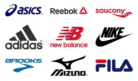 athletic shoes logo running shoes producers logos editorial image