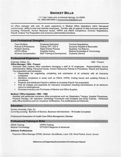 Resume Examples For Medical Office by Medical Office Manager Resume Example