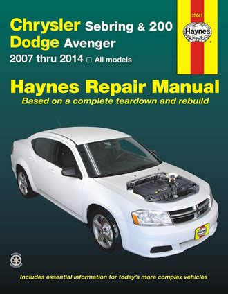 free car manuals to download 2007 chrysler sebring windshield wipe control chrysler sebring 200 dodge avenger repair manual 2007 2014 2 0l 2 7l 3 5l 3 6l